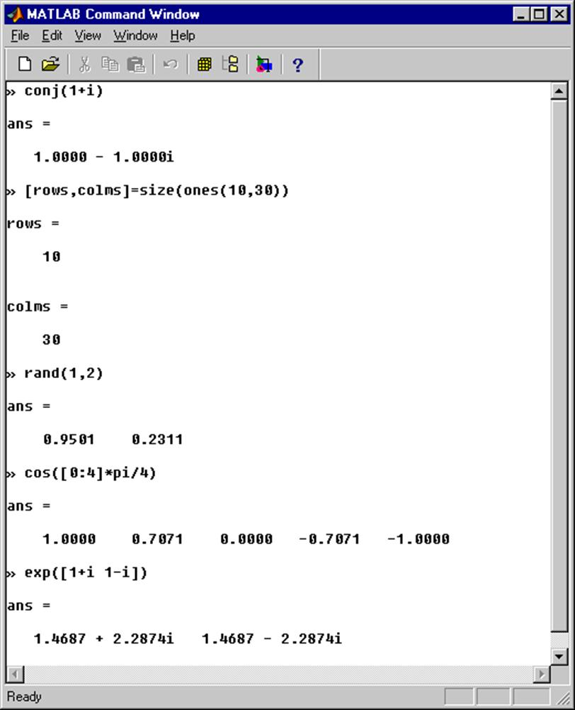 introduction to matlab some examples of general purpose matlab functions are shown below a more comprehensive list of some useful functions and operators can be found in the